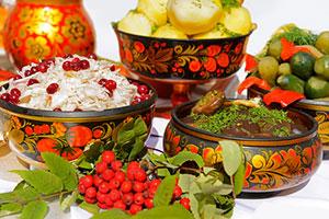 Обед русской кухни