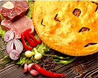 пирог с двумя видами мяса